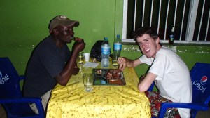 Delicious Pork dinner and home made liquor with our guide Paul after our hike