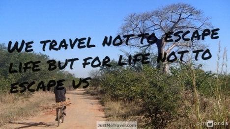 We travel not to escape life but for like not to escape us